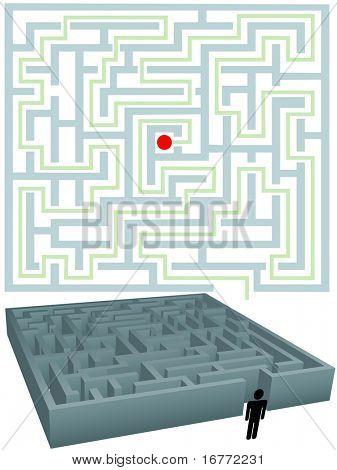 Ein Symbol-Person mit einem Plan für eine Lösung ein Labyrinth-Rätsel.