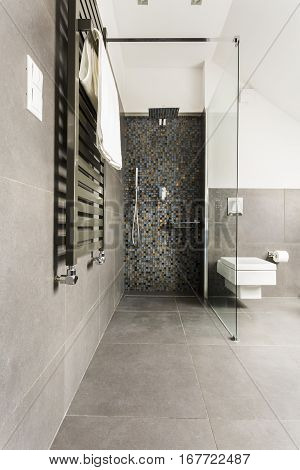 Grey Bathroom With Shiny Tiles