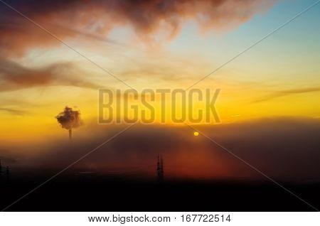 Silhouette city sun light sunset doomsday sky sunrise sunset building industrial