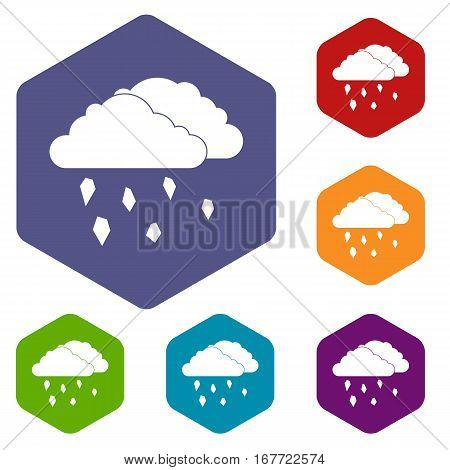 Clouds and hail icons set rhombus in different colors isolated on white background