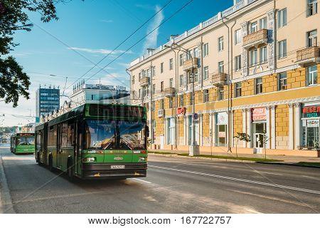 Gomel, Belarus - August 10, 2016: Public Bus Rides On The Lenin Avenue Street In Sunny Summer Day In Gomel, Belarus