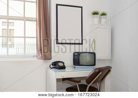 Retro Office Desk With Rotary Phone and TV
