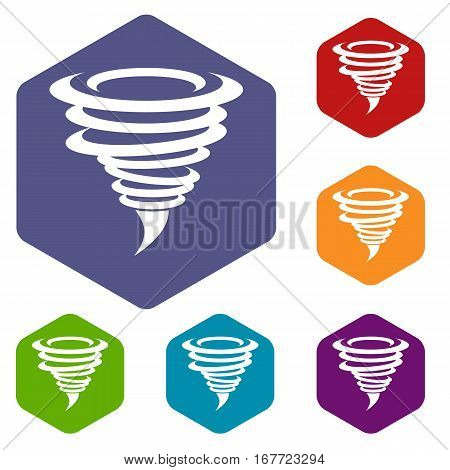 Tornado icons set rhombus in different colors isolated on white background