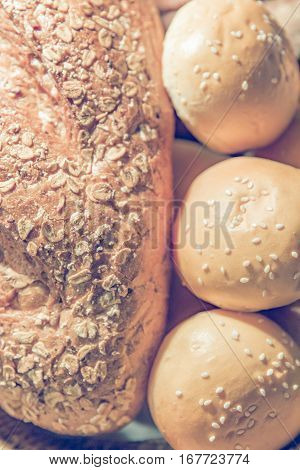 Close up Fresh fragrant Homemade bread selective focus with vintage filter