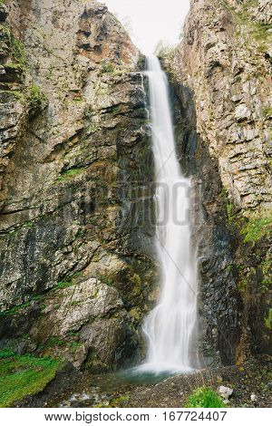Natural Famous Landmark Gveleti Big Waterfalls In The Darial Gorge, Dariali Gorge, In Kazbegi District, Mtskheta-Mtianeti Region, Georgia.