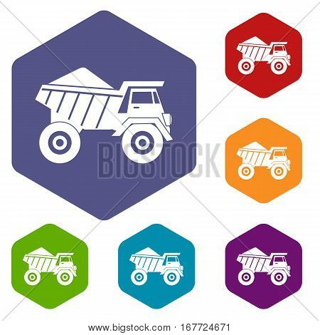 Dump truck with sand icons set rhombus in different colors isolated on white background