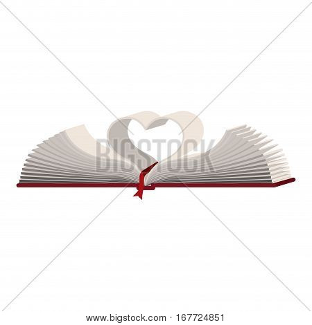 colorful silhouette with holy bible open with sheets in shape heart vector illustration