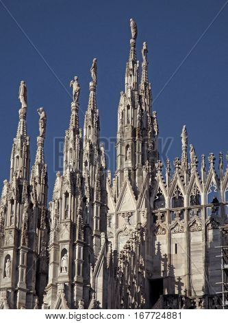 Impressive Rooftop Decorations and Sculptures of The Duomo, Milan, Italy