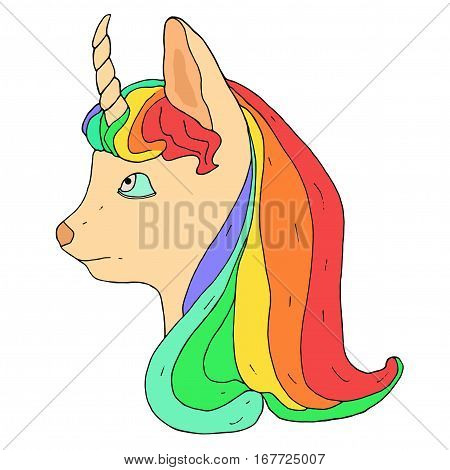 Little unicorn with rainbow haircut. Vector monochrome unicorn head. Fictional imaginative animal.