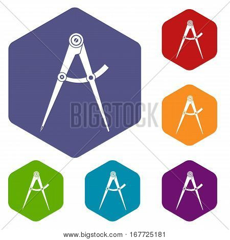 Compass tool icons set rhombus in different colors isolated on white background