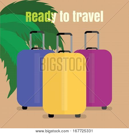 Three suitcases in different colors, ready to travel