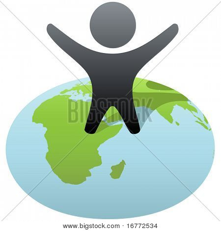 Everybody wants to rule the world! Symbol person stands on globe to celebrate global success, victory.