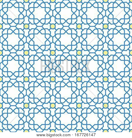 Seamless geometric pattern for your designs and backgrpounds. Modern ornament with repeating elements. Blue and yellow pattern