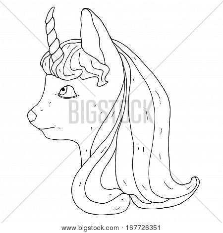 Little unicorn. Vector graphic unicorn head. Fictional imaginative animal.