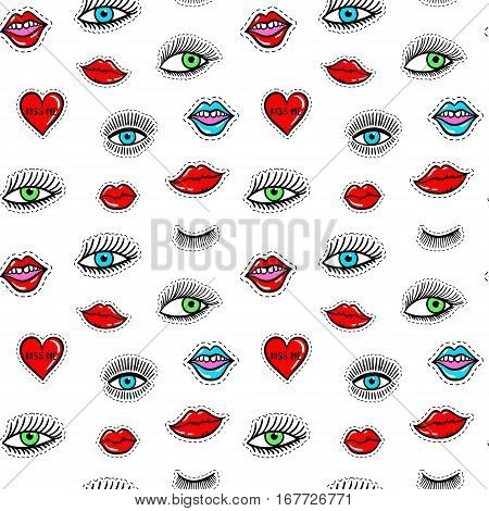 Hand Drawn Fashion Patches Eyes, Red Lip, Heart Seamless Pattern. Vector Beauty Illustration Of Open
