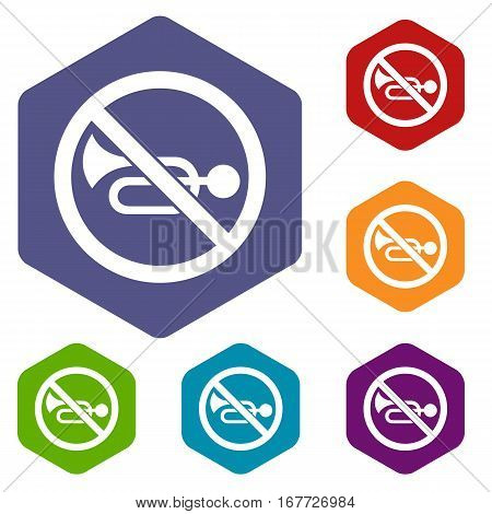 No horn traffic sign icons set rhombus in different colors isolated on white background