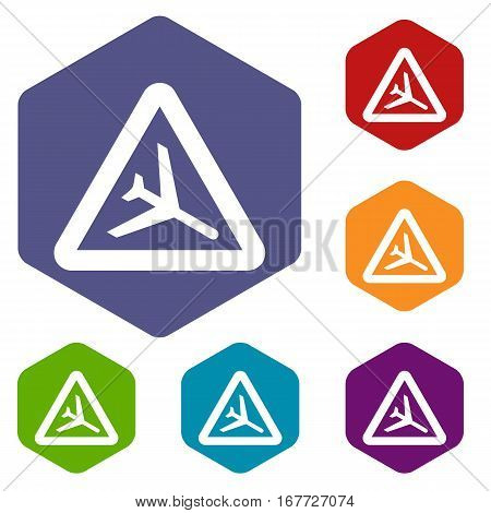 Warning sign of low flying aircraft icons set rhombus in different colors isolated on white background