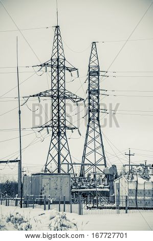 Hight voltage power transmission tower. Power supply and energetics concept.