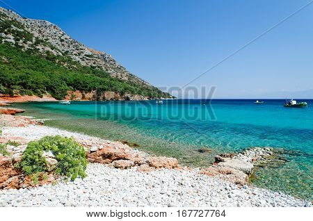 Pebble beach Mourtia on the aegean island Samos