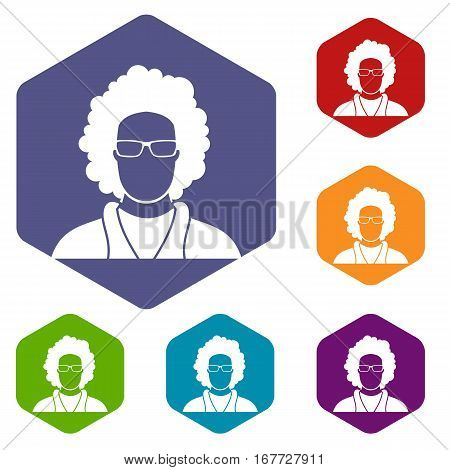 User icons set rhombus in different colors isolated on white background