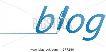 An an icon of a blue ink pen writing a line in a blog.