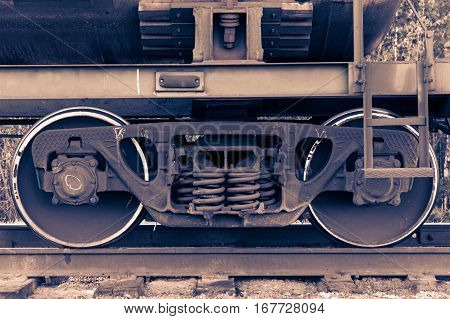 Pair of train wheels. Closeup shot. Railway transportation concept.