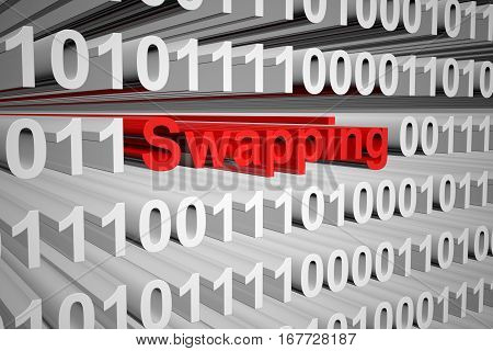 swapping in a binary code 3D illustration