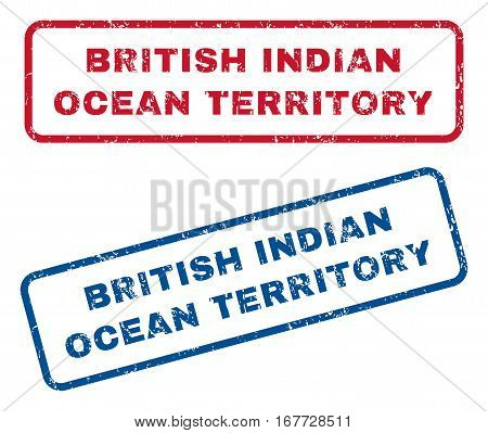 British Indian Ocean Territory text rubber seal stamp watermarks. Vector style is blue and red ink tag inside rounded rectangular banner. Grunge design and dust texture. Blue and red stickers.