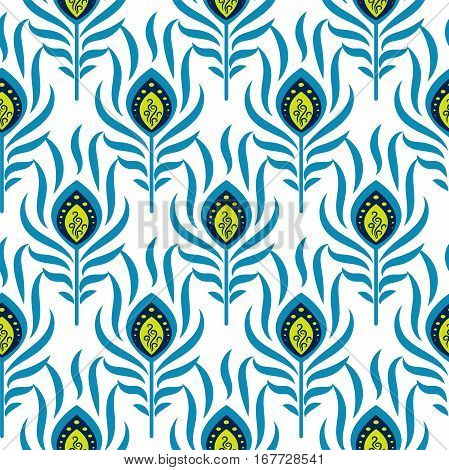 Peacock blue and green seamless vector pattern. Peafowl bird feathers tileable print for textile or wrap paper.