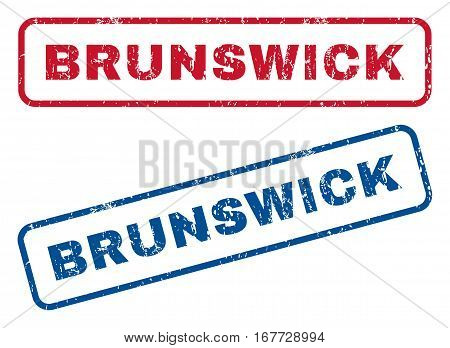 Brunswick text rubber seal stamp watermarks. Vector style is blue and red ink caption inside rounded rectangular banner. Grunge design and unclean texture. Blue and red stickers.