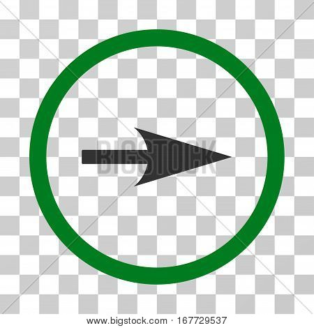 Arrow Axis X rounded icon. Vector illustration style is flat iconic bicolor symbol inside a circle green and gray colors transparent background. Designed for web and software interfaces.