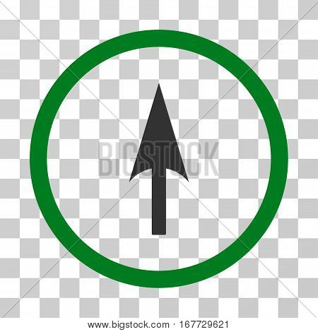 Arrow Axis Y rounded icon. Vector illustration style is flat iconic bicolor symbol inside a circle green and gray colors transparent background. Designed for web and software interfaces.