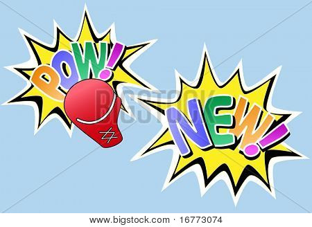 POW NEW set of 2 knockout comic book style design effects.
