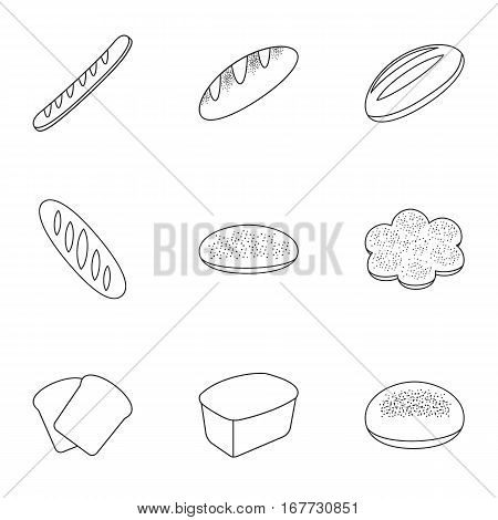 Bread set icons in outline style. Big collection of bread vector symbol stock