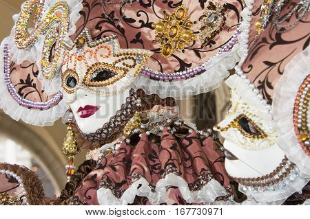 VENICE, ITALY - FEBRAURY 1: Carnival of Venice two beautiful mask FEBRUARY 1, 2016 in Venice, Italy