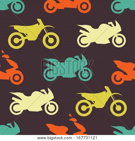 Retro motorcycle seamless pattern. Vector illustration for bike transport design. Bright vehicle, motorbike, scooter, chopper pattern. Bike wallpaper background. Cartoon silhouette shape.