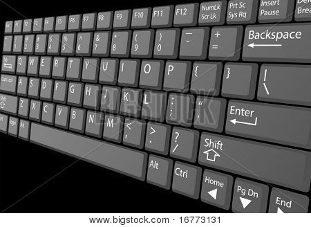 A closeup view of a laptop computer keyboard with white key labels, isolated on black.