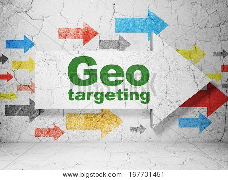 Finance concept:  arrow with Geo Targeting on grunge textured concrete wall background, 3D rendering