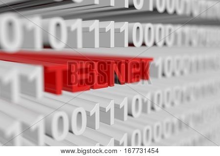 TELNET in binary code with blurred background 3D illustration