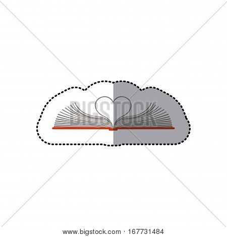 middle shadow color sticker with open book with sheets in shape of heart vector illustration