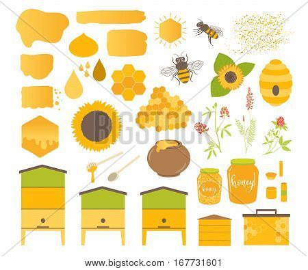 Honey Vector Set With Bee, Honeycomb, Hive, Honey, Drip, Bee Pollen,beeswax Candles And Sunflower. B