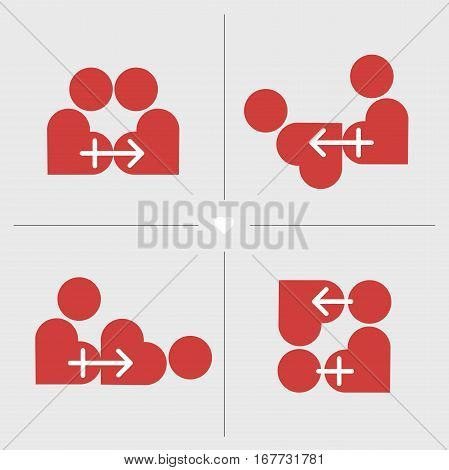 Kamasutra positions styled in red hearts and male and female symbol. Sexual positions shown as two loving hearts. Short strip with sex practices. Master vector flatten illustratio.
