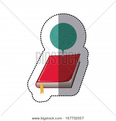 middle shadow sticker with book and dialogue bubble vector illustration