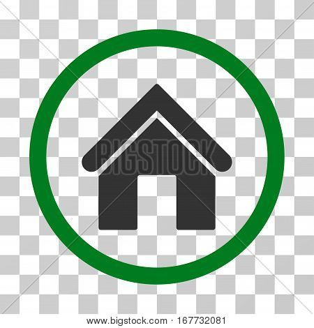Home rounded icon. Vector illustration style is flat iconic bicolor symbol inside a circle green and gray colors transparent background. Designed for web and software interfaces.