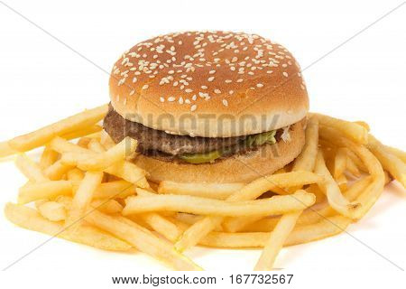 Big burger and french fries on white background