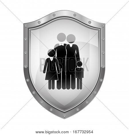 metallic shield with black silhouette of family nucleus vector illustration