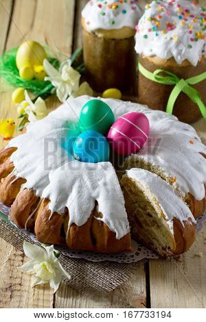 Traditional Easter Food Cake: The Dough Wrapped In A Roll With Nut Filling And Raisins, With Sweet I