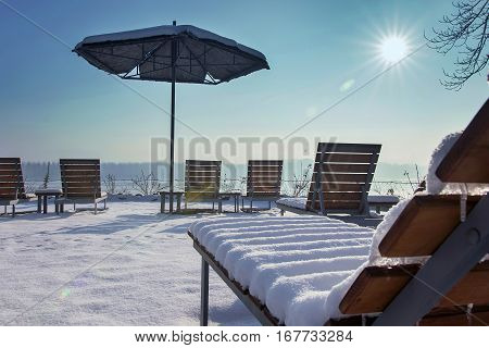 Beach terrace Sunny day winter edition. Snow terrace.