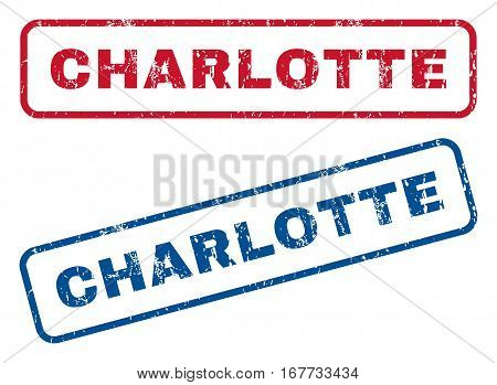 Charlotte text rubber seal stamp watermarks. Vector style is blue and red ink caption inside rounded rectangular shape. Grunge design and unclean texture. Blue and red stickers.