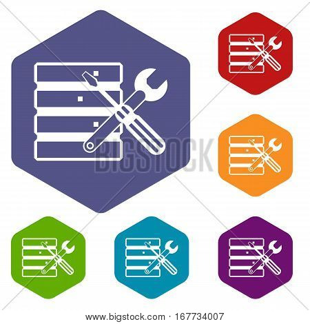 Database with screwdriverl and spanner icons set rhombus in different colors isolated on white background